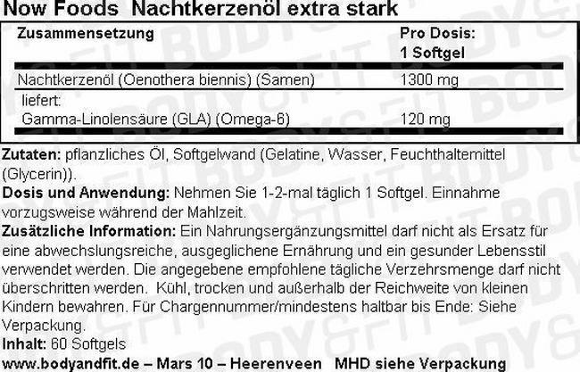 Nachtkerzenöl Extra Stark Nutritional Information 1