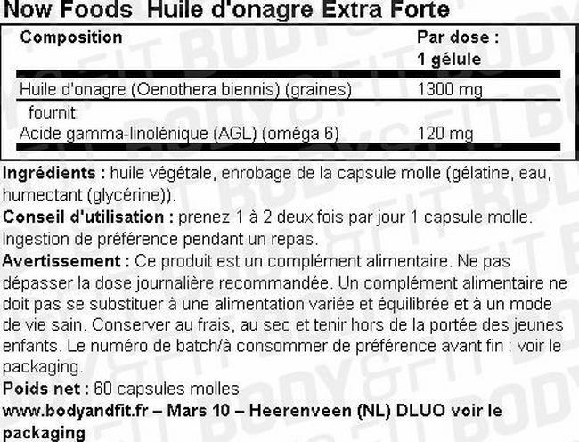 Huile d'onagre Extra Forte Nutritional Information 1