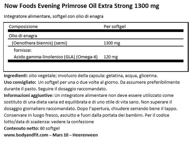 Evening Olio di Enagra Extra Strong Nutritional Information 1