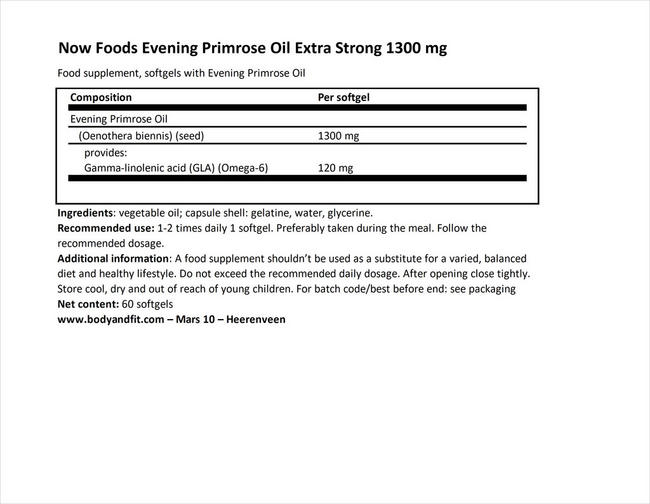 イブニングプリムローズオイル エクストラストロング Nutritional Information 1
