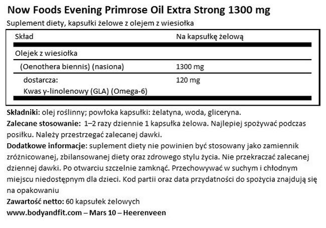 Evening Primrose Oil Extra Strong Nutritional Information 1