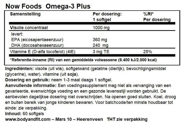 Omega-3 Plus Nutritional Information 1