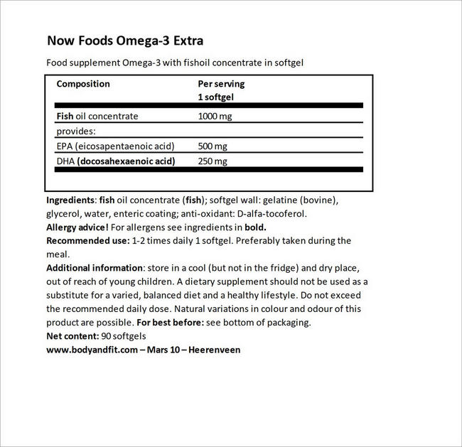 Omega-3 Extra Nutritional Information 3