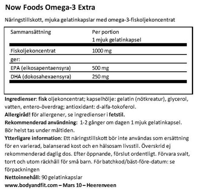 Omega-3 Extra Nutritional Information 1