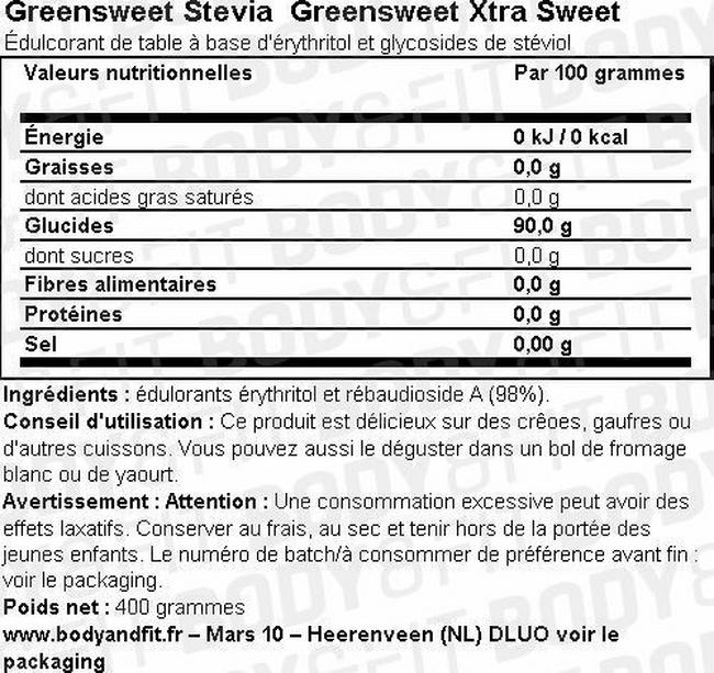 Greensweet Édulcorant Xtra Sweet Nutritional Information 1