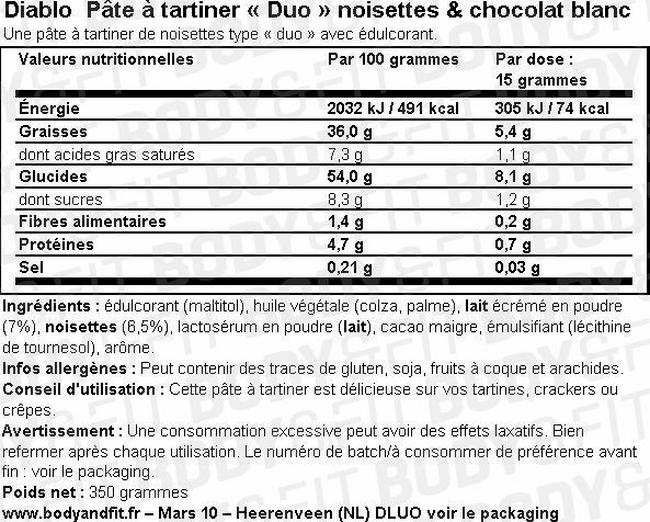 Pâte à tartiner Duo Noisettes & Chocolat blanc Nutritional Information 1