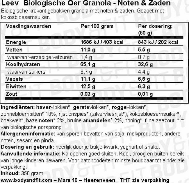 Oer Granola Noten & Zaden Nutritional Information 1