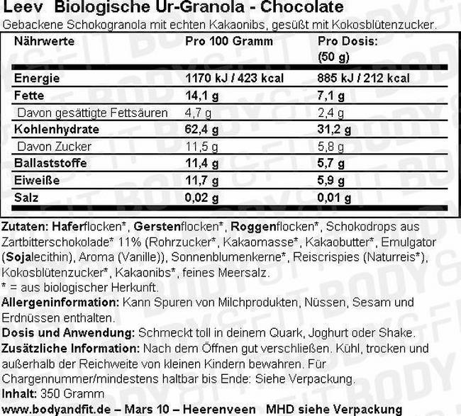 Ur-Granola Chocolate Nutritional Information 1