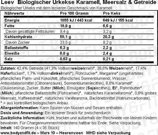 Urkekse Karamell, Meersalz & Getreide Nutritional Information 1