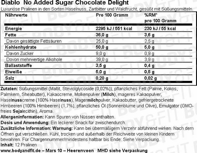 No Added Sugar Chocolate Delight Nutritional Information 1