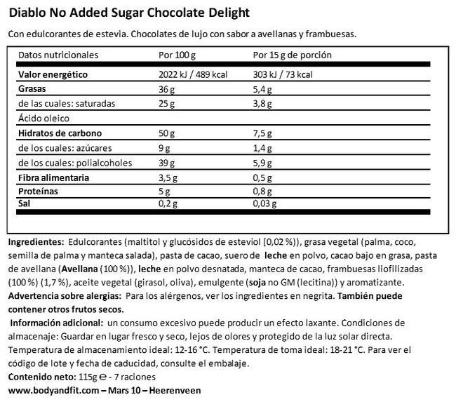 Chocolate Delight (sin azúcar añadido) Nutritional Information 1
