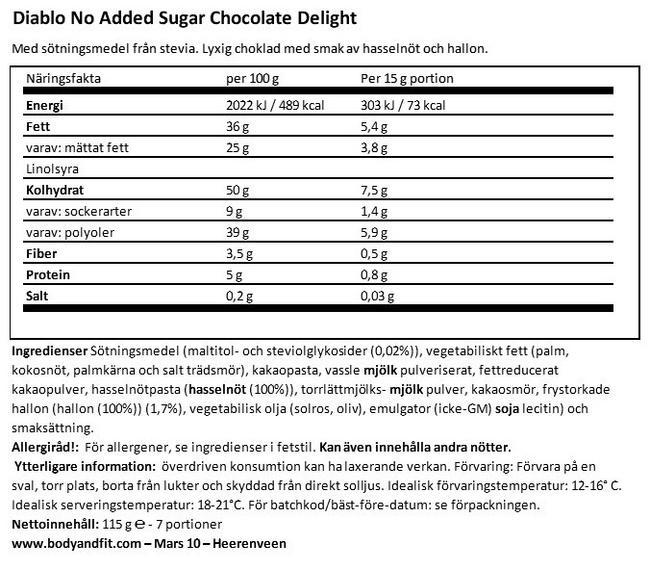 Chocolate Delight (inget tillsatt socker) Nutritional Information 1
