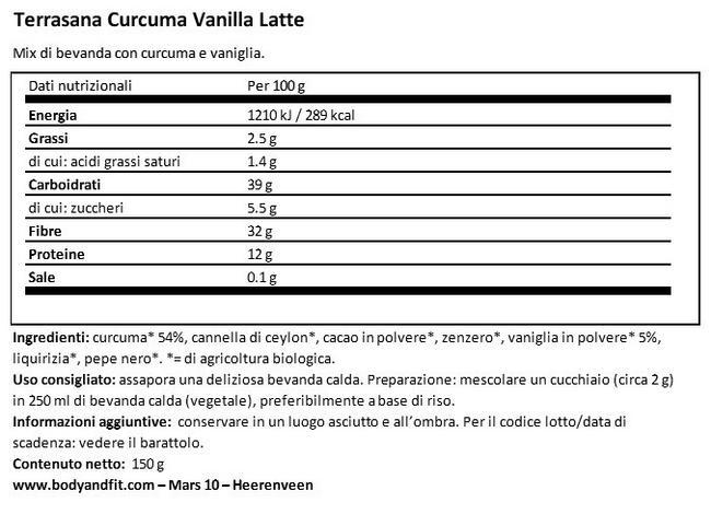 Curcuma Vanille Latte Nutritional Information 1