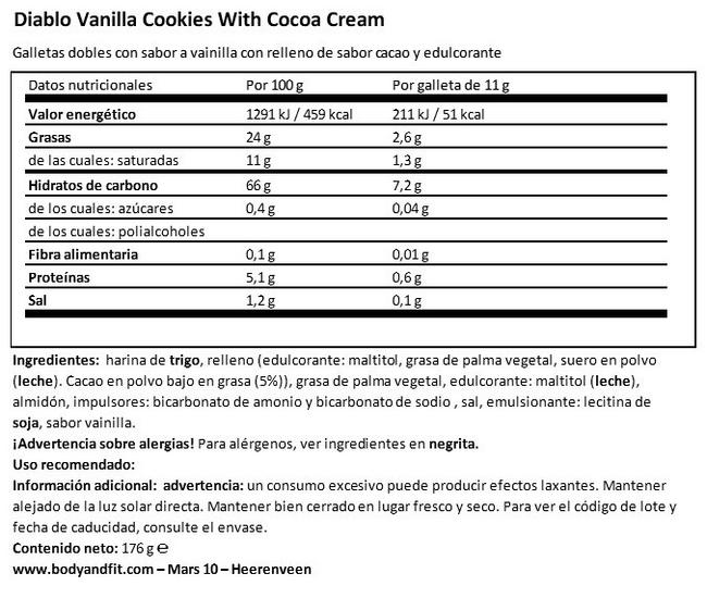 Sandwich Cookies with Vanilla Cream Nutritional Information 1