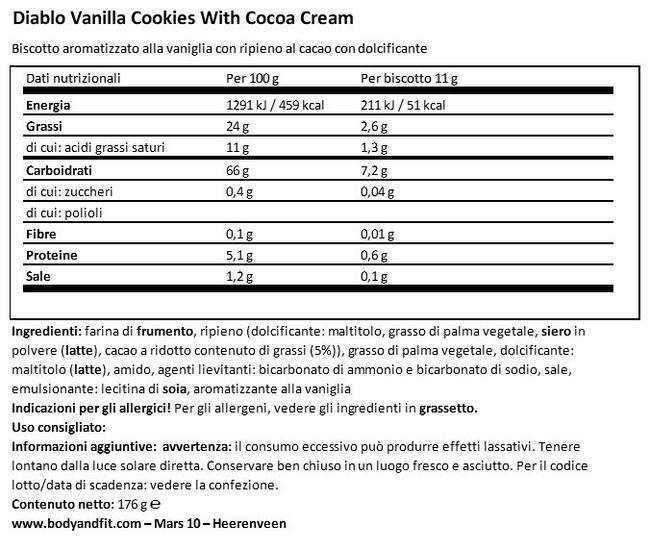 Biscotti Ripieni di Crema alla Vaniglia Nutritional Information 1