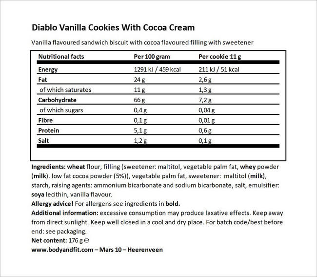 Vanilla Sandwich Cookies Nutritional Information 1