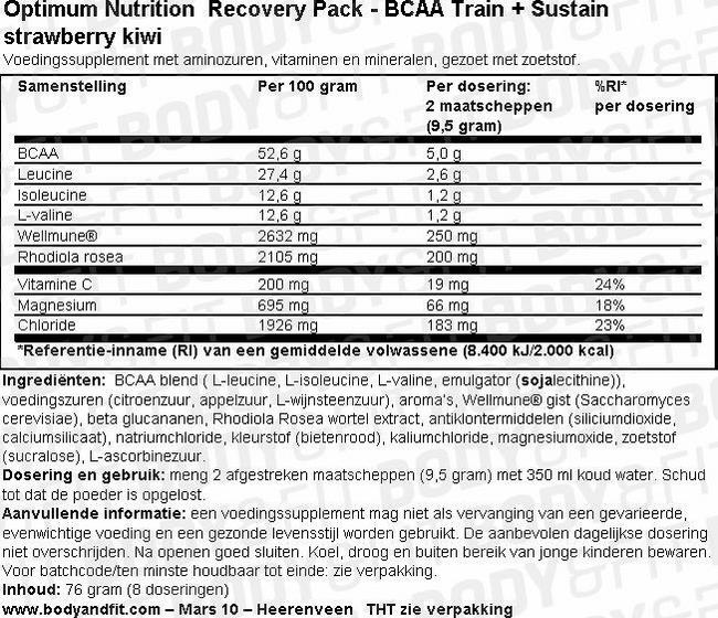 Optimum Nutrition Recovery Pack Nutritional Information 2