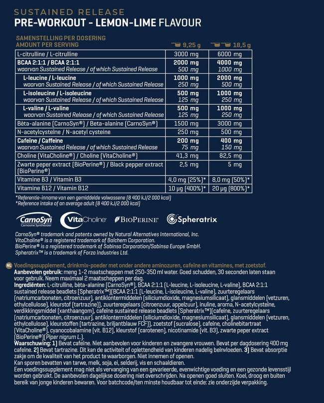 Sustained Release Pre-Workout Nutritional Information 1