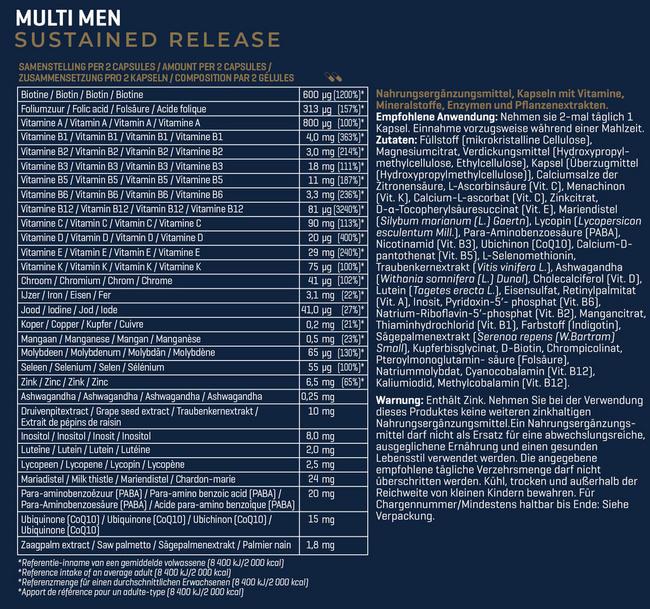 Sustained Release Multi Men Nutritional Information 1