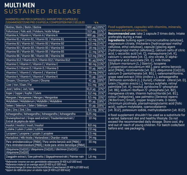 Sustained Release Multi Men Nutritional Information 1