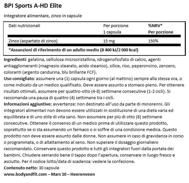 A-HD Elite Nutritional Information 1