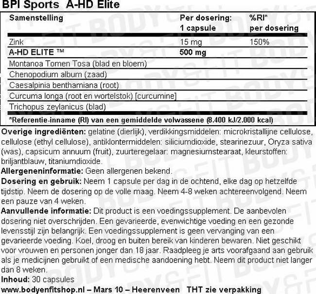 A-HD Elite Nutritional Information 1