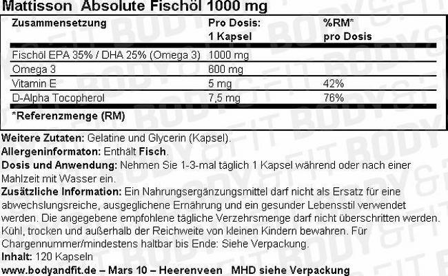 Absolute Fischöl 1000 mg Nutritional Information 1