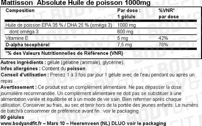 Absolute Huile de poisson 1000mg Nutritional Information 1