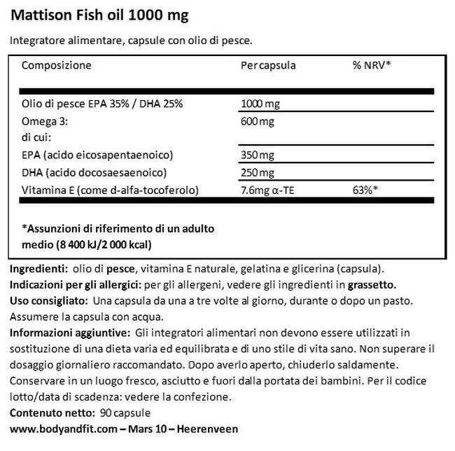 Absolute Fish Oil 1.000 mg Nutritional Information 1