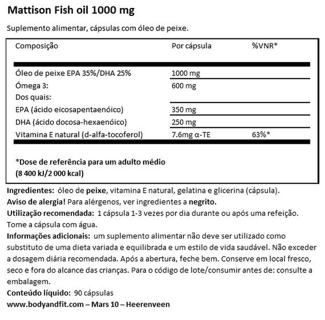 Absolute Fish Oil 1000 mg Nutritional Information 1