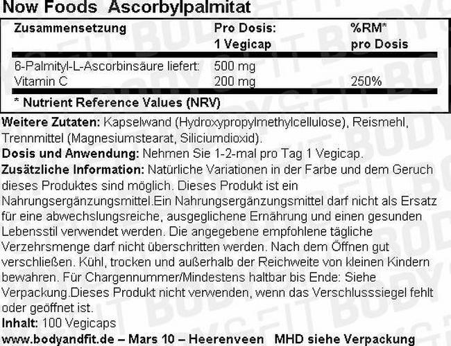 Ascorbylpalmitat Nutritional Information 1