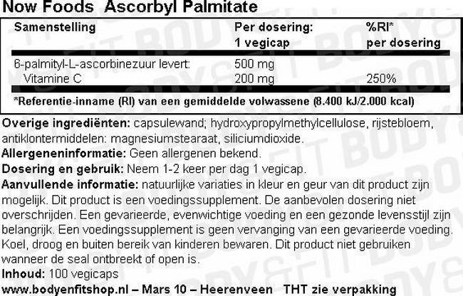 Ascorbyl Palmitate Nutritional Information 1