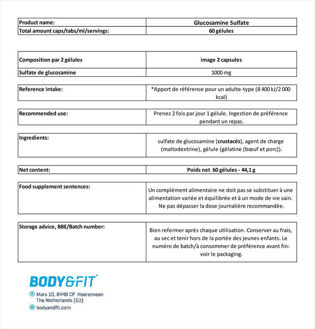 Glucosamine 500mg Nutritional Information 1