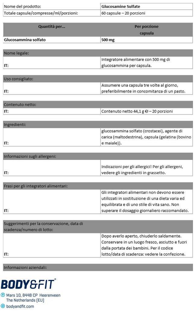 Glucosamina Sulfato Nutritional Information 1