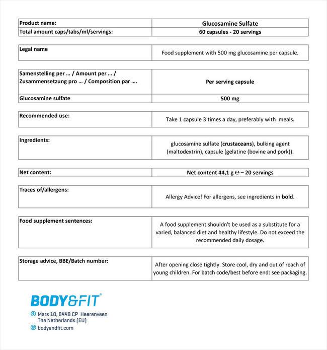 グルコサミンサルフェート Nutritional Information 1