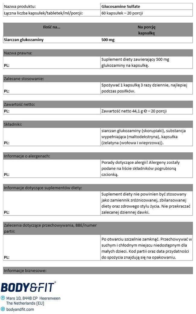 Siarczan glukozaminy Nutritional Information 1
