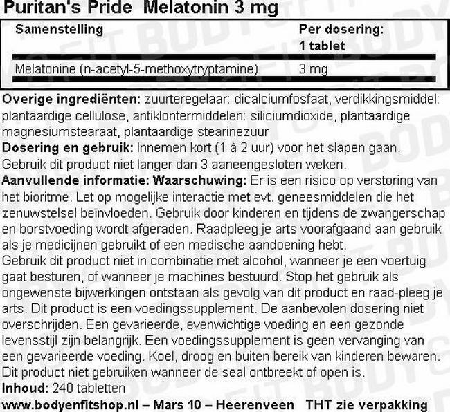 Melatonin 3 mg Nutritional Information 1