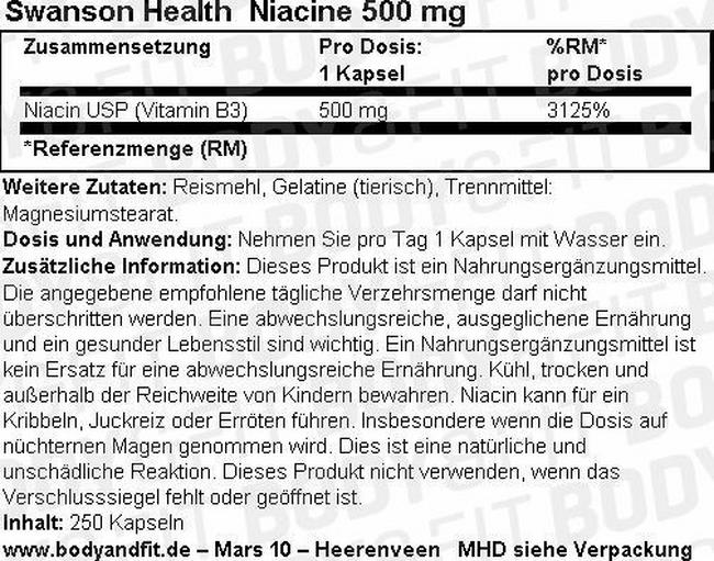 Niacine 500 mg Nutritional Information 1