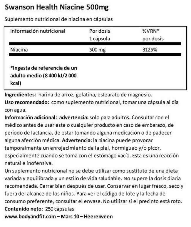 Niacin 500 mg Nutritional Information 1