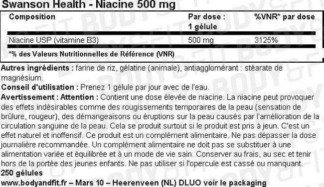 Niacine 500mg Nutritional Information 1