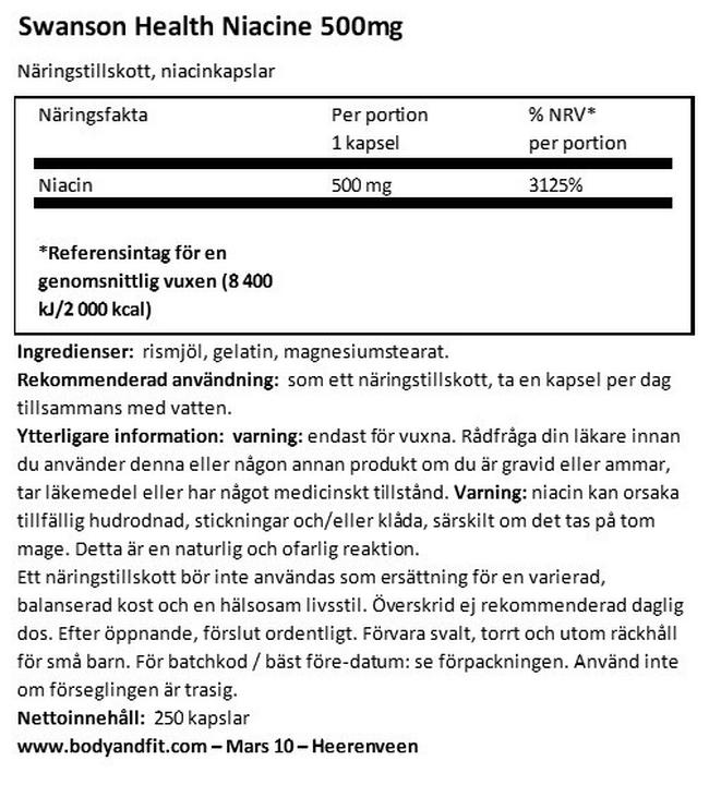 Niacin 500mg Nutritional Information 1