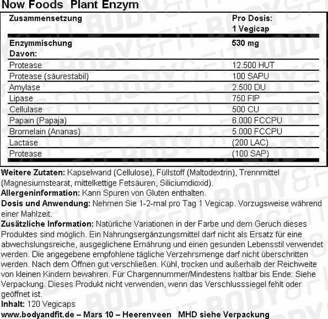 Pflanzenenzyme Nutritional Information 1
