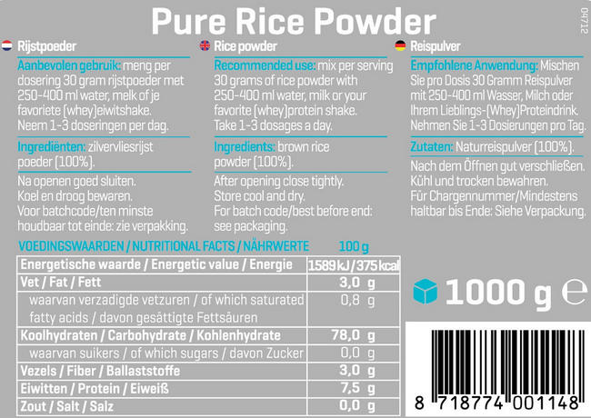 Pure Reis Pulver Nutritional Information 1