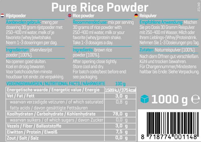 Pure Farine de riz Nutritional Information 1