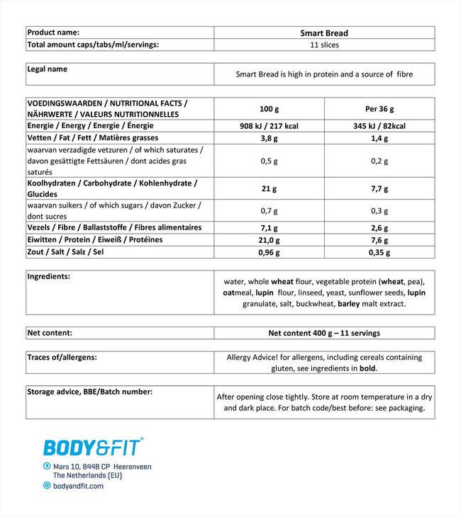 Smart Bread Nutritional Information 1
