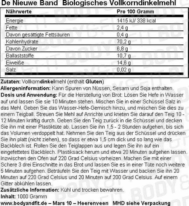 Vollkorndinkelmehl (biologisch) Nutritional Information 3
