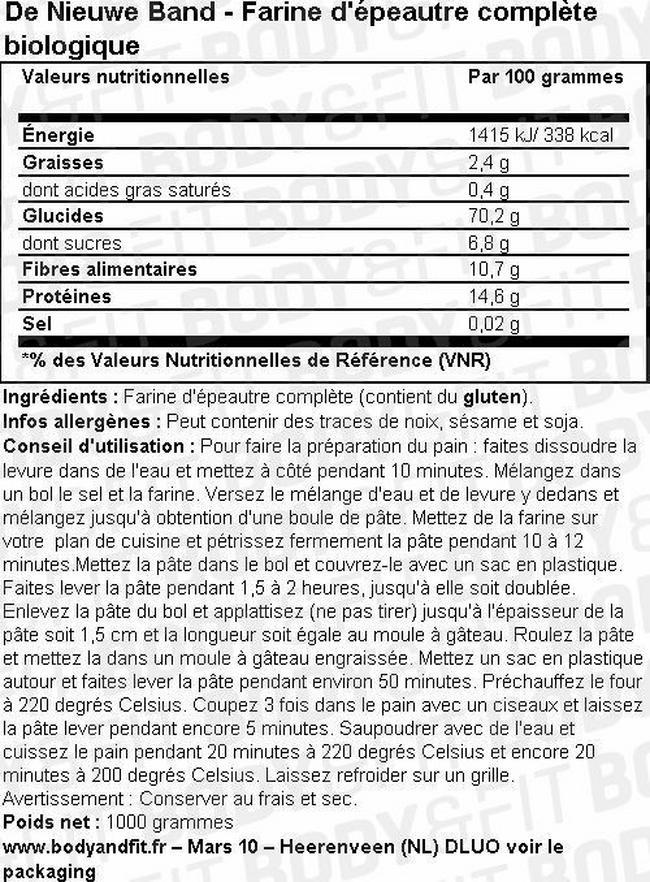 Farine d'épeautre (complète) Nutritional Information 1