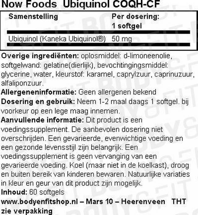 Ubiquinol COQH-CF Nutritional Information 1