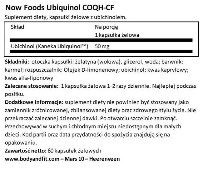 Ubichinol (COQH-CF) Nutritional Information 1