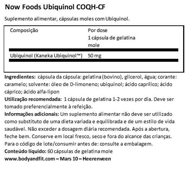 Ubiquinol (COQH-CF) Nutritional Information 1